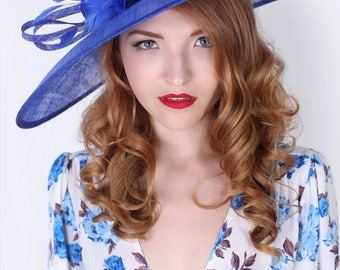 """Royal Blue Sun Hat - """"Alexandria"""" Royal Blue Fascinator Sun Hat w/ mesh flowers and feathers"""