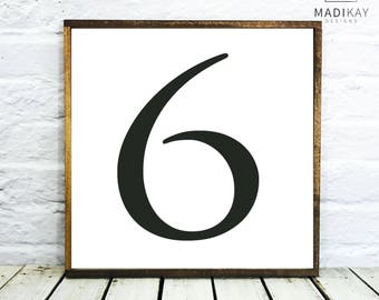 Table Numbers 6 Wedding Table Number, Farmhouse Decor, Wedding Decor Table Number 6 Wedding Wedding Table Decor, Wood Table Numbers, Framed