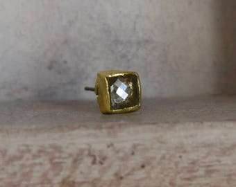 22kt solid yellow gold - rose cut diamond post back- solo stud earring-pre Columbian inspired-one of a kind