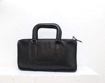 Vintage COACH Slim Satchel Bag Black // New York City NYC Bonnie Cashin Satchel Brief Tote