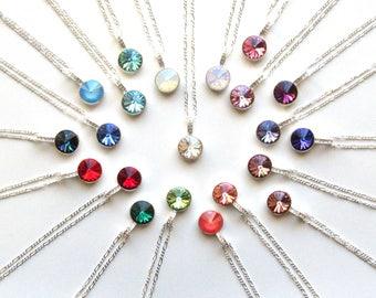 Swarovski Crystal Necklace, Crystal Necklace Pendant, Sterling Silver Necklace, CHOOSE COLOR & LENGTH, Crystal Necklace, Crystal Pendant
