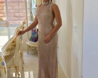 Prom Dress Bridesmaid dress Long Champagne Sequin bridesmaid dress, cocktail dress, formal elegant dress, prom dress, sexy Dress