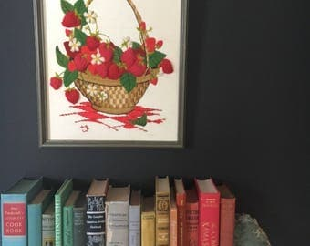 Unique Vintage Strawberry Basket - Handmade Crewel Needlepoint - Amazing 3D Texture - Framed and ready to hang