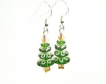 Fancy Fern Green Christmas Tree Earrings, Swarovski Crystal Christmas Trees, Holiday Tree Jewelry, Christmas Jewelry, Tinsel Trees