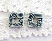 Ceramic square charms ~ ceramic connectors, blue earring charms, square charms, jewellery making supplies, jewelry findings, clay charms