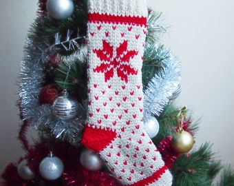 Crochet pattern Fair Isle knit look Christmas stocking, Nordic Holiday home decor, Instant download PDF