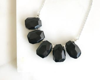 Black Onyx Statement Necklace in Silver.  Chunky Bib Statement Necklace. Holiday Christmas Necklace.  Simple Black Statement Jewelry.