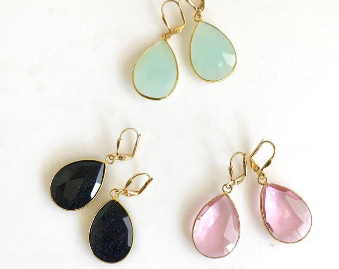 Simple Teardrop Earrings in Gold.  Quartz Teardrop Earrings. Colorful Statement Earrings. Colroful Rhinestone Dangle Earrings. Drop.