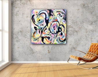 """4+4+4=12: Original large square abstract expressionist modern art oil painting 48""""x48"""" wall decor black grey pink blue red yellow white"""