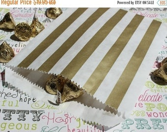 GLAMSALE 150 Gold Stripe Wedding Candy Bags, Gold Favor Bags, Gold Metallic Paper Bags, Gold Party Bags, Gold Gift Bags, Gold Candy Bags