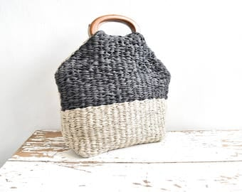 Woven Market Basket in Anthracite and Beige.  Wooden Handles.  One of a Kind and Ready to Ship