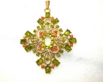 Cross Pendant Green Orange Vintage DOBBS Mod 70s Pendant