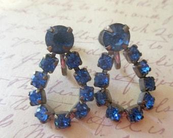 ON SALE Vintage Sapphire Blue Rhinestone Earrings