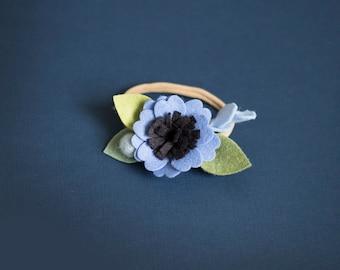 Baby girl headband, Toddler Headband, Toddler Flower Headband, Felt Flower Headband, Blue Flower Headband, Blue baby Headband