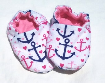 Baby Girl Shoes Booties -  Anchors and Hearts