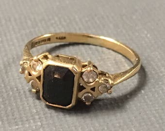 Antique 9ct Gold Sapphire Ring by Slade & Wolfe Hatton Garden London c.1950s