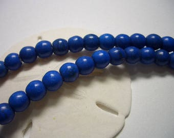 Royal blue 8mm Magnesite beads, round, blue gemstone beads, blue, deep blue, round beads, 8mm beads, Magnesite beads, 8mm gemstone, veins
