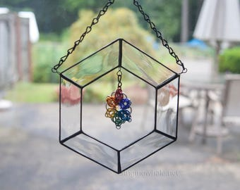 Mixed Media/Stained Glass and Chainmaille rainbow suncatcher