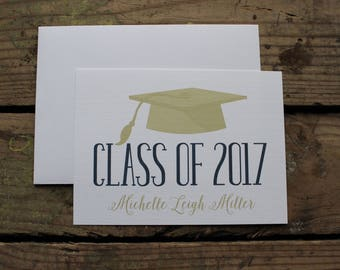 Graduation Thank You Cards, Custom, School Colors, High School, College, Kindergarten, Graduate, Custom Stationery, Navy and Gold, Cap