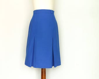Vintage A line Skirt / Electric Blue / High Waist / Pleats Pleated / Classic Chic / Secretary Skirt / Below Knee / Midi / small medium