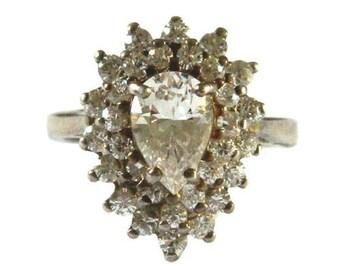 Vintage Sterling Silver Cluster Ring Size  7 1/2