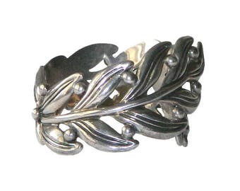 Vintage 1950's Mexican Sterling Silver Clamper Bangle Bracelet by Margot de Taxco