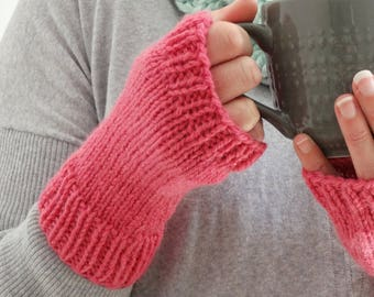 Hot PINK FINGERLESS GLOVES || Hand Knit Wrist Warmers || Alpaca Texting Gloves || Gloves for Her