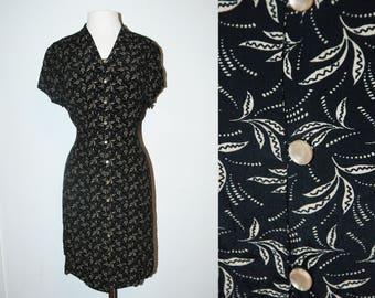 VINTAGE Talbots Black Print Dress / Size Medium-Large