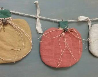 Flat Primitive Pumpkin Garland - Set of 3 - Autumn / Fall Garland - Hanging Fabric Pumpkins - Country Primitive Grungy Decor - Wall Hanging