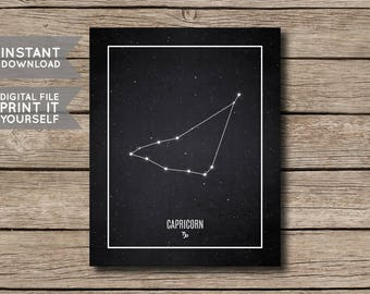 INSTANT DOWNLOAD - Capricorn Constellation Print / Printable Zodiac / Horoscope Constellation Print / Poster / Chalkboard Style-Digital File