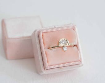 Half Moon Diamond + Round Diamond Engagement Ring | 14k Recycled Gold