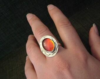 Bright Red to Orange Fire Gem Ammolite Found in Utah Deposit, .925 Sterling Silver Fine Jewelry Size 9 1/2 Ring  677