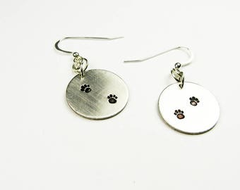Pawprint Earrings - Dog Owner Jewelry - Tiny Paw Print Animal Lover or Pet Owner Gift