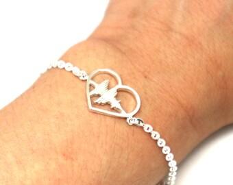 Silver Soundwave Heart Rhythm Bracelet - Sound wave Heart Sonogram Jewelry, Secret Hidden Message,Gift for Wife, Girlfriend, Daughter,Sister