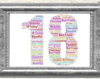 18th Birthday Personalised Word Art Print Perfect Present Keepsake
