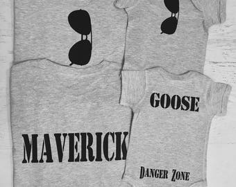 Father's Day Daddy and Son Matching shirts Aviator Sunglasses on Front Maverick and Goose on Back Danger Zone on bum Perfect for Fathers Day