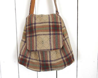 Plaid Hobo Shoulder Bag - Early 90s Single Strap Tote - Vintage Beige Mustard Bag