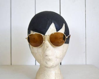 34% Off Sale - Early 90s Sunglasses - Vintage Round Brown Tint Lenses - Gold Metal Tortoise Shell Sunnies - Grunge John Lennon Style