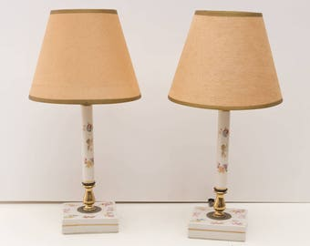 Vintage PAIR Candlestick Lamps,Delicate Floral English Porcelain