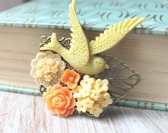 Bird Wedding Hair Piece - Wedding Hair Comb - Fall Bridal Hair Clip - Cameo Wedding Hair Accessories - Flower Hair Clip - Floral Hair Comb