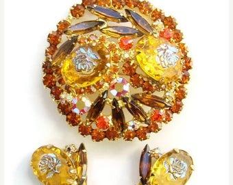 ON SALE Juliana DeLizza & Elster Rhinestone Brooch Earrings Demi Iridescent Rose HTF 1966