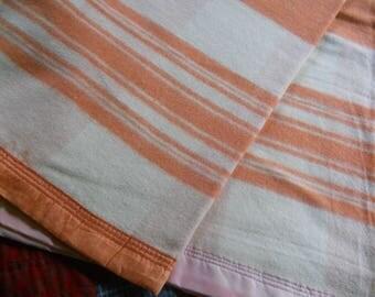 Vintage Orange/Cream Striped Wool Blanket--82x74--Light Weight Blanket-#2