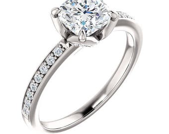 6mm  Antique Square Cushion  Forever One Moissanite Colorless Solid 14K White Gold Diamond  Engagement  Ring   - ST233155