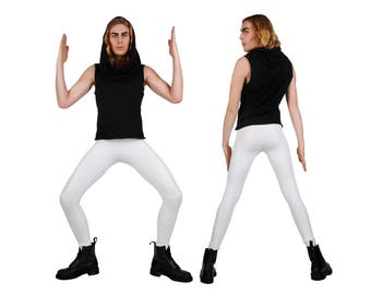 Men's Matte White Leather-Look Leggings, Meggings, Glam Rock Stage Wear, 80's Heavy Metal Clothing, Spandex Pants, by LENA QUIST