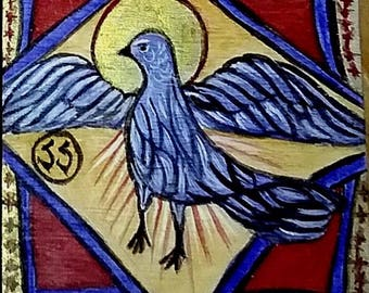 Signed Print, Decoupage, Wood, Coptic, Byzantine Icon, Dove, Bird, Holy Spirit, Animal symbol, Hand Made, One of a kind, Licia Atelier, USA