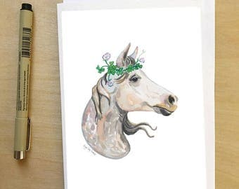 Horse in Clover, horse portrait greeting card, by Abigail Gray Swartz