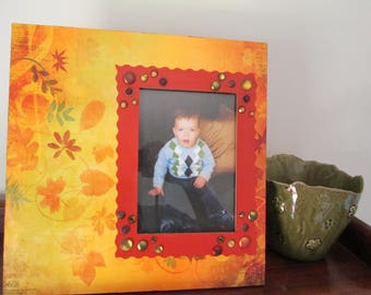 5x7 Fall Themed - Hand Decorated Picture Frame