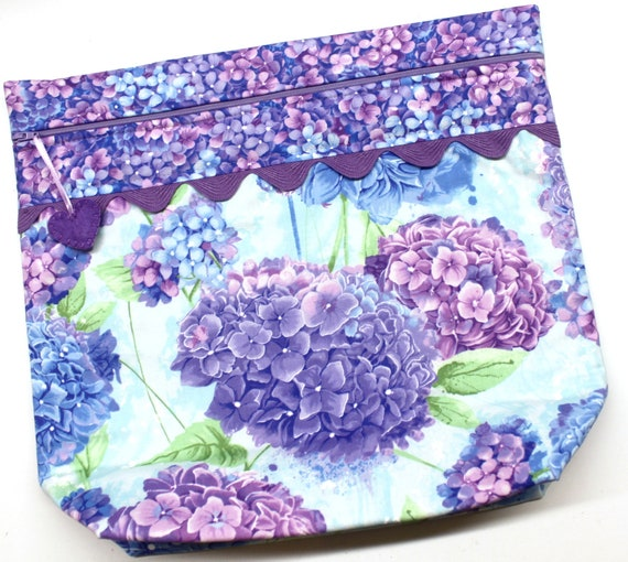 MORE2LUV Purple Hydrangeas Cross Stitch Embroidery Project Bag