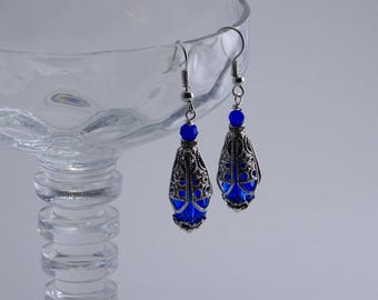 Vintage Look Capri Blue Crystal And Silver Dangle Cone Earrings