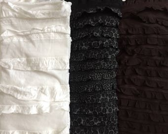 Ruffle Fabrics, Assorted Colors, White, Black, Brown